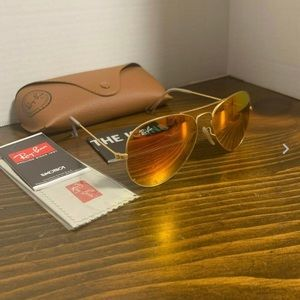 Ray-Ban Aviator Sunglasses Orange Flash 55mm